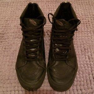 Vans hi-top black leather sneakers